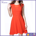 Sleeveless Orange Color New Model Casual Dresses Women Ladies