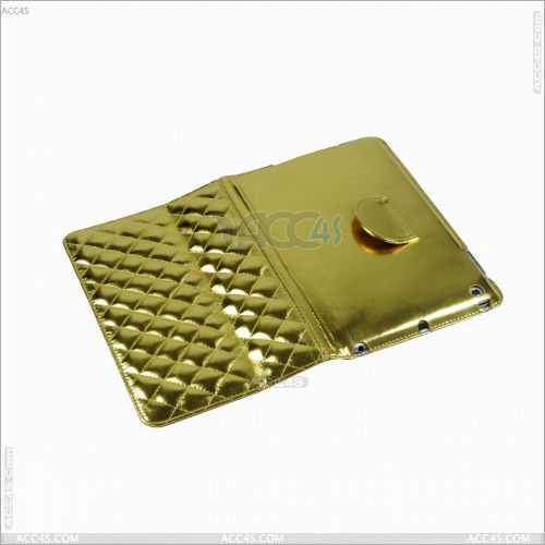 Alibaba France China diamond pattern Golden Stand PU Leather products for mini ipad case/for ipad mini case
