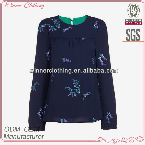 2014 latest design women's clothing garment apparel manufacture direct factory top hand embroidery fashion blouses
