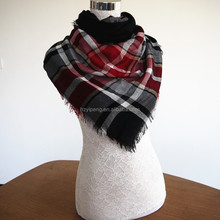 Fancy hijab scarf plaid stripe design China low cost woven scarf
