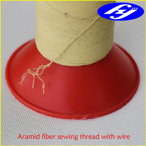 Nomex fiber twisted sewing thread reinforced by steel wire
