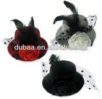 Mini Top Hat Party Hat with Lace and Rose Flower,Costume Party Top Hat with Duck Bill Hair Clip Factory in Yiwu Wholesale
