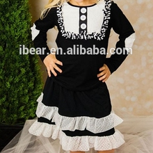 Girls Black Lou Top & Ruffle Skirt - Toddler & Girls Long Sleeved Black Dress White Ruffles with single breasted Buttons