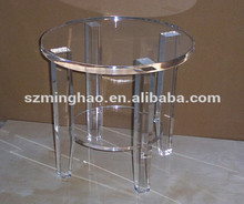 Top quality small round clear Plexiglass table for tea/ Cocktail/ coffee
