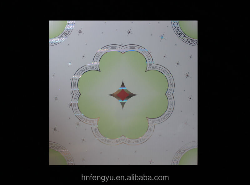 artistic pattern pvc flat false ceiling design 595*595 radiant hot stamping Pvc ceiling Panel made in china