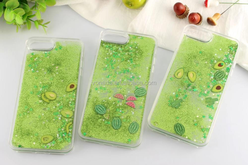Avocado Star Green Glitter Sparkle Liquid Water Case for iPhone 7 7 Plus