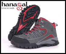 High quality full grain leather hiking two tone mixed colour way boots red and grey men waterproof hiking shoes