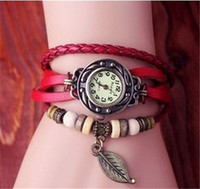 New Arival Fashion vintage leather quartz watch leaf pandent lady watch