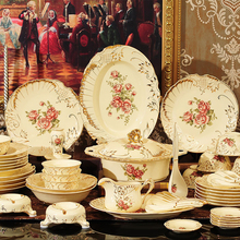 European Style Kitchen Ceramic Dinnerware Dinner Sets Porcelain <strong>Plates</strong> Bowls Mugs Spoons Pots Mugs Crockery Dining Service