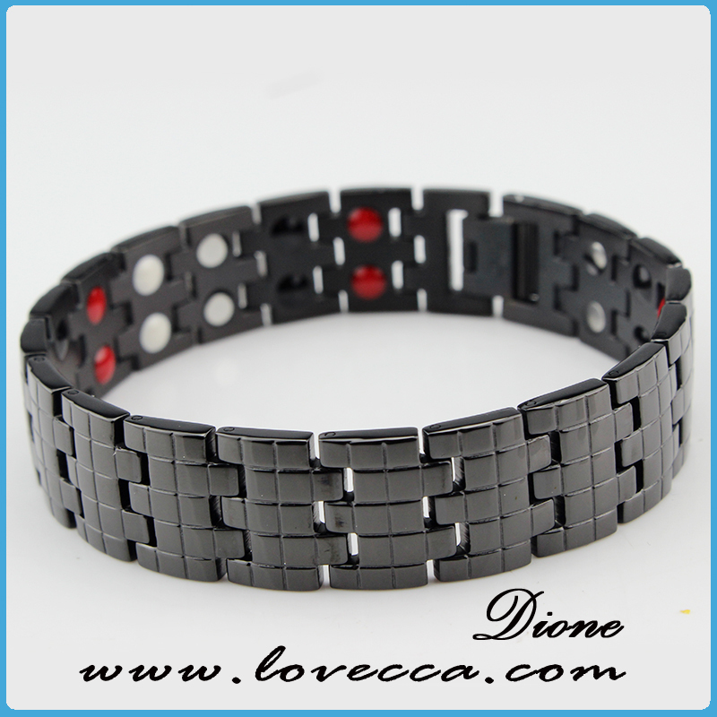 fashion black link anti fatigue titanium ion energy wristband bracelets