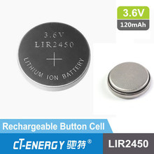 3.6v lithium ion battery lir 2450 rechargeable button cell battery with solder tab