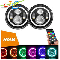 Latest 7inch LED Headlight RGB Halo Interior for Jeep Wrangler JK & motorcycles