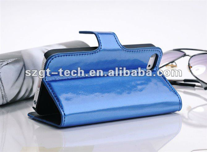 Elegant glossy wave PU leather wallet case for iPhone5,for iPhone5 PU leather case mobile protective skin cover