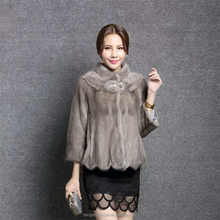 Modish grey color ladies winter real mink fur coat