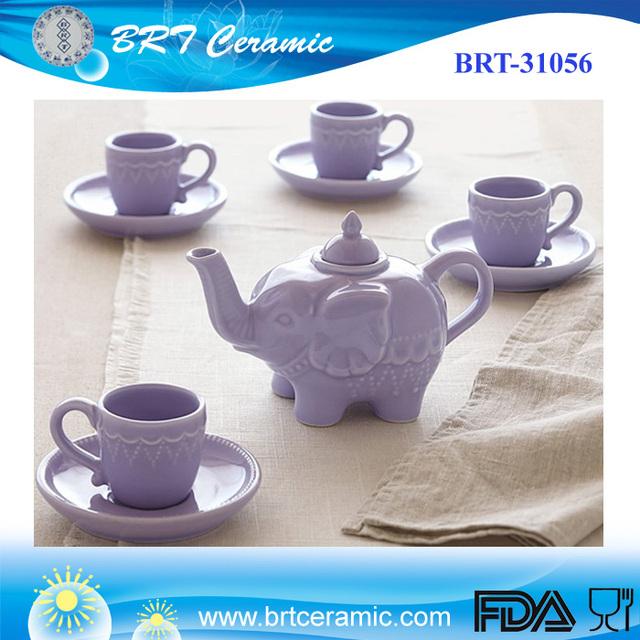 Purple Elephant Tea Set/Custom Animal shape Tea Set