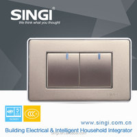 New Arrival Custom Design PC and Metal High quality 2 pang single way wall switches