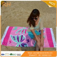 Organic cotton beach towel reactive printed beach towels with tassels