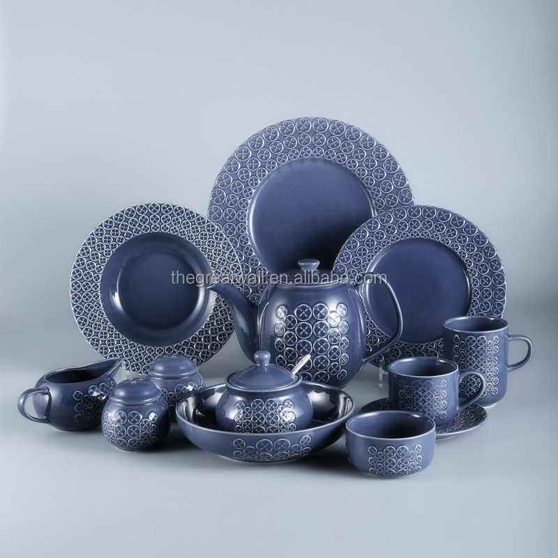 Stock of 47pcs embossed round dark blue glazed ceramic dinner set for 6 people dining table set