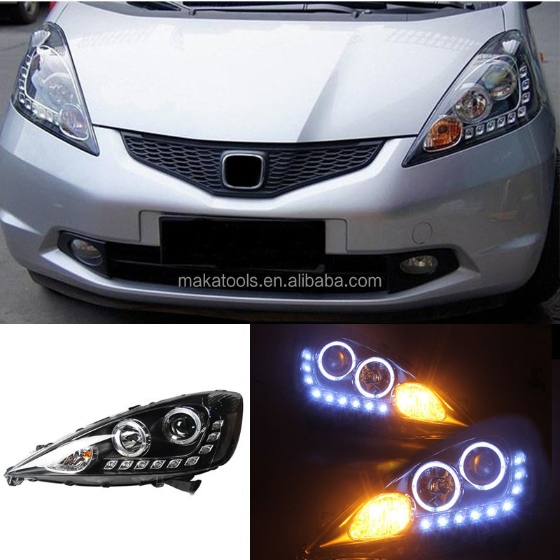 For Honda Fit 2009-2012 LED Angle Eye DRL HID Ballast Composite Headlight Set