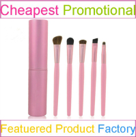 5pcs cheap colorful makeup brush set with synthetic hair pink roll makeup bag