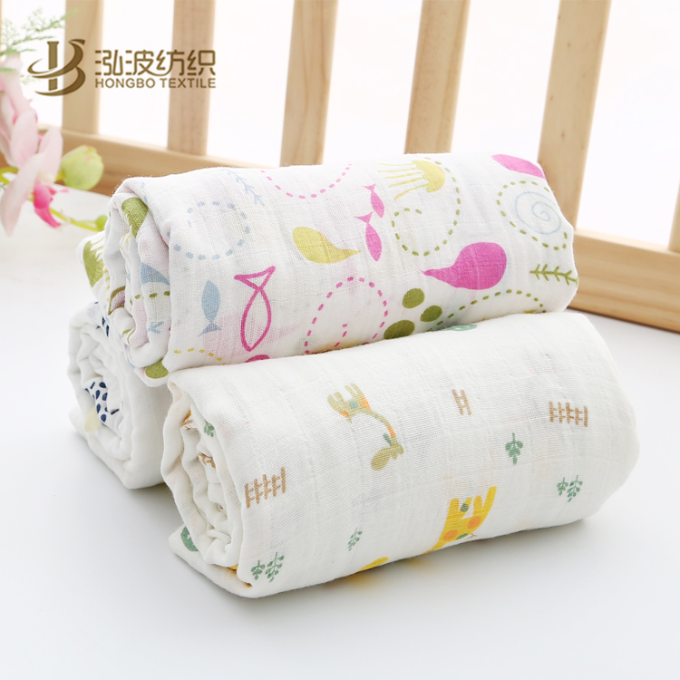 "47"" x 47"" size 2 layer gauze organic cotton bamboo muslin swaddle blanket"