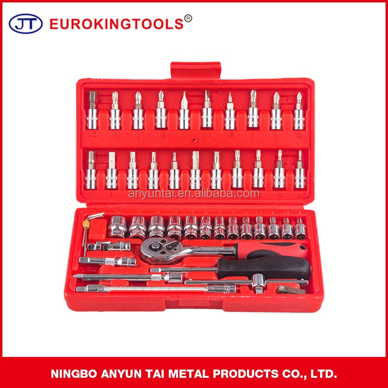 "1/4""DR. METRIC SOCKETS (6PT) 46PCS Mechanical Tools Sets in Cabinet Car Repair Kit"