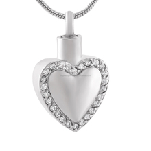 IJD9822 Bulk Wholesale White/Pink Crystal Heart Shape Stainless Steel Keepsake Pendant -Engravable Cremation Jewelry