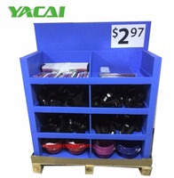 Top sale T-shirts promotion cardboard pallet display 4-shelves paper fsdu retail display rack