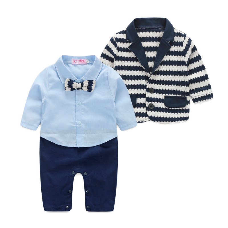 Infant autumn & winter baby clothes sets boy long sleeve knit coat with matching jumpsuits two piece sets