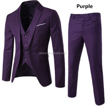 2018 popular stock purple pant coat design office formal business groom wedding mens suit