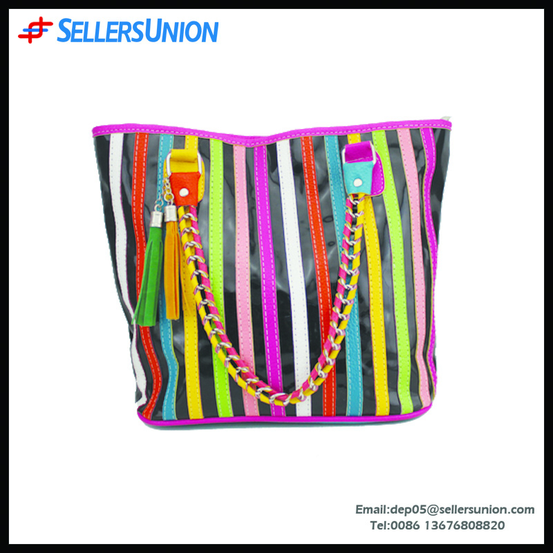 Fty direct sell colorful PVC fancy lady handbag, sweet single shoulder bag girl bag