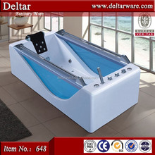 blue toughened glass bathtub in two sides, stainless steel handle bathtub, free standing bathtub