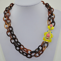 Latest design frog resin necklace, plastic chain necklace
