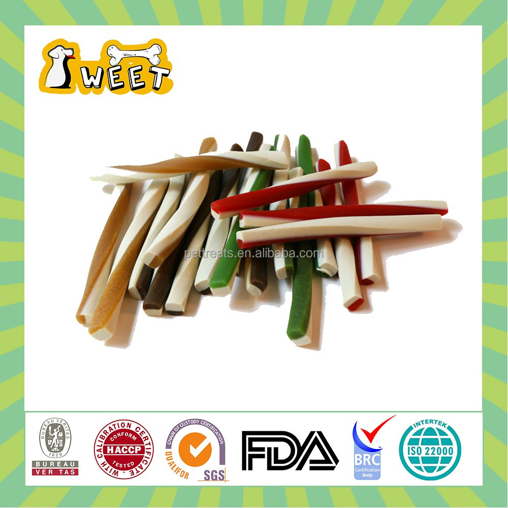 "4.5"" 11g Mint Flavor Wholesale Bulk Rawhide Free Canine Dental Chews Twist Stick Dog Products"