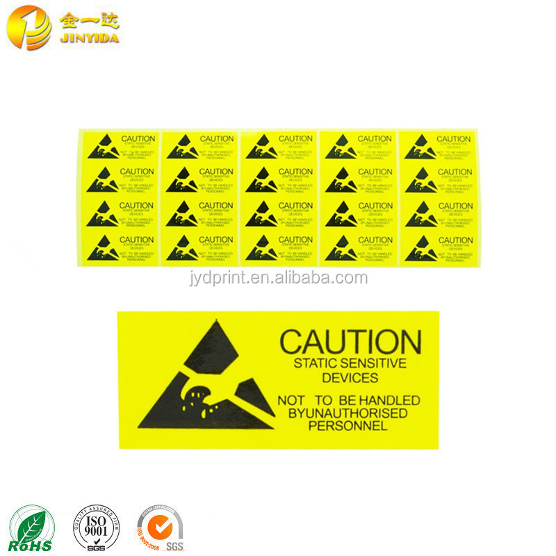 Yellow Color Waring Label For Electronic Products