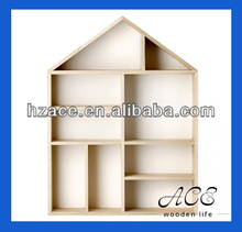 Solid Wood Display House Natural Wooden Shelf