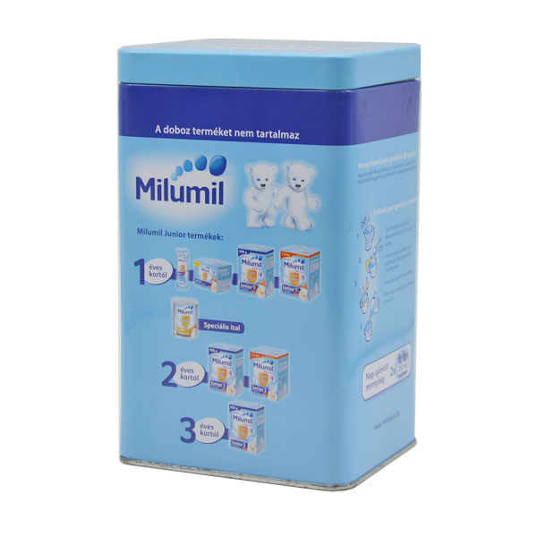 Suitable baby use milk powder tin can health care airproof safe with insert lid seam rectangle various printing candle box