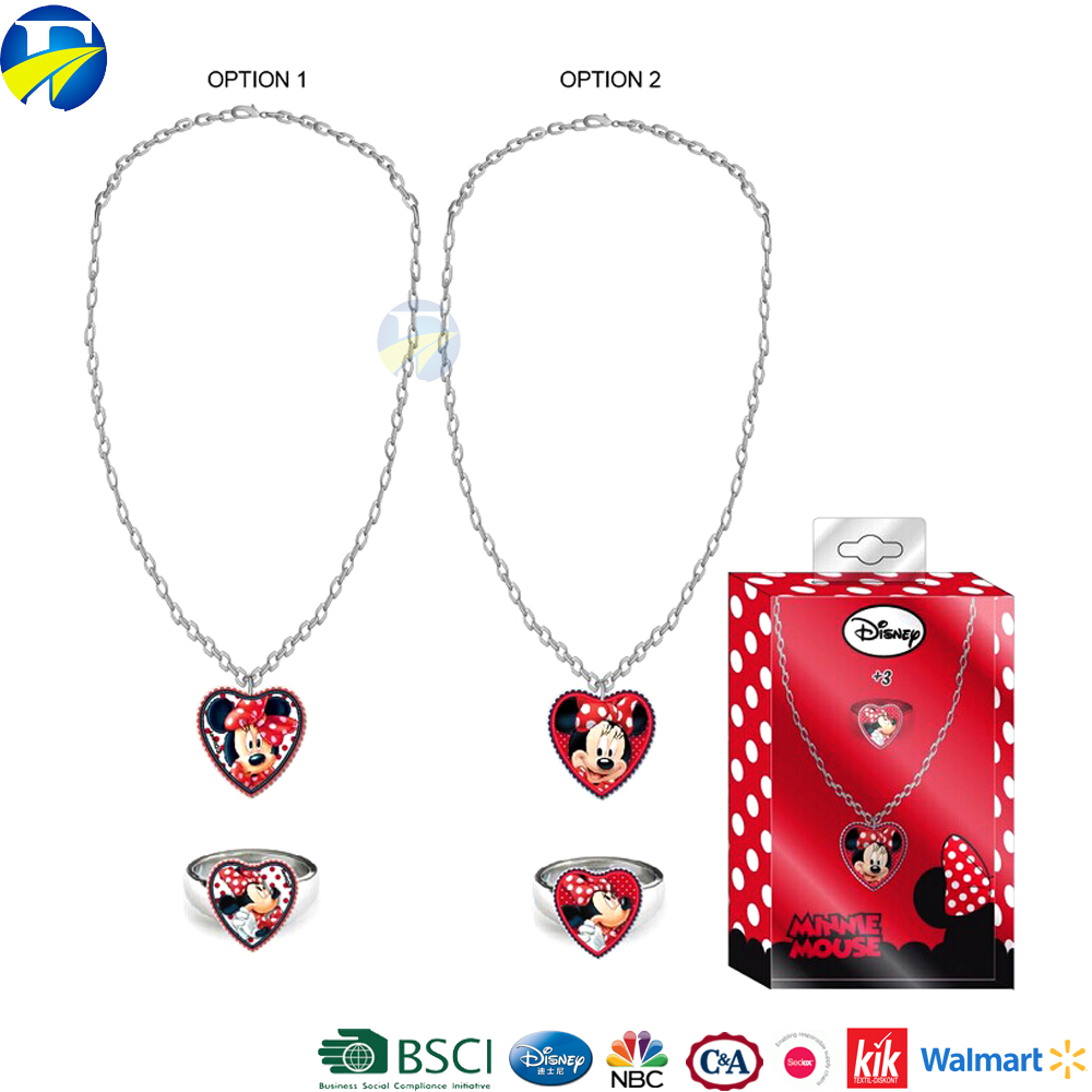 FJ brand minnie kids princess bead necklace set accessories ring jewelry set necklace for girls