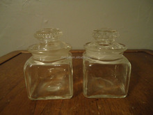 Vintage Square Miniature Apothecary Nut Candy Jars Ground Dakota Thumbprint