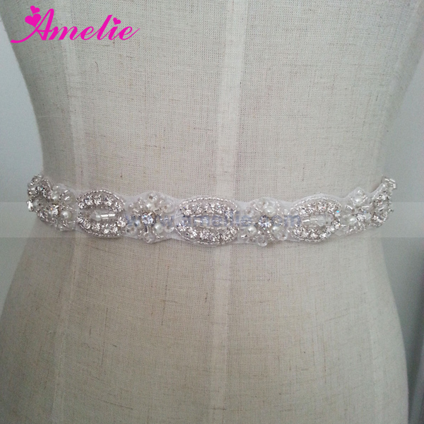 Rhinestone and Beads Style Wedding Dress Belts