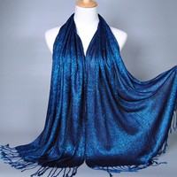 Wholesale ladies viscose lurex glitter shawls shimmer Scarves hijab popular muslim scarf