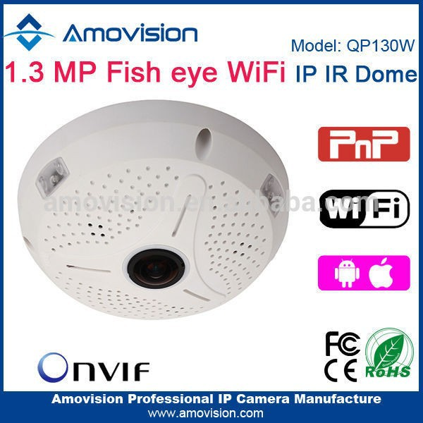 Amovision P2P 1.3MP QP130W wifi pan tilt zoom POE onvif 360 IR dome wifi mini fisheye camera