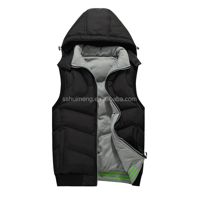 Sleeveless padding vest with Detachable hood