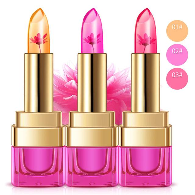 bioaqua grape lemon peach flavour temperature color changing flower lipstick jelly vitamin c