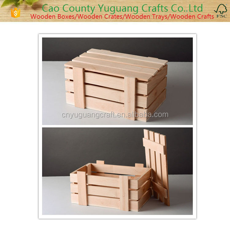 Natural Color Pine wooden crate,wood fruit crate,gift wood crate