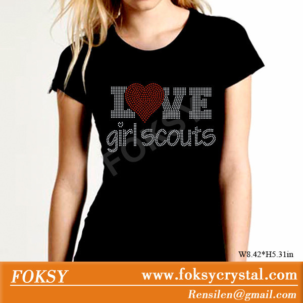 I love Girl Scouts Wholesale Rhinestone Heat Transfer Bling for T shirts