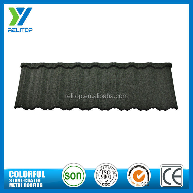 Sand factory supply al-zinc coat stone coated metal roof tile korea