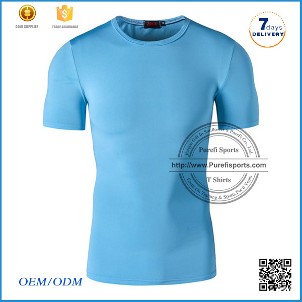 2016 Hot sale fashion mens slim fitted gym t shirts short sleeve sports t shirts for mens with Round Neck dry fit