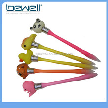 cute panda fish duck dog dolphin sloth animal plastic light pen with logo customized