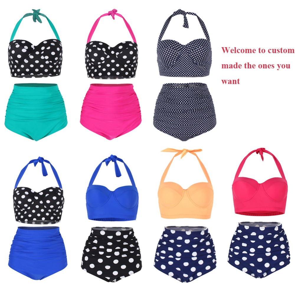 Factory Wholesale Women's Vintage Bikini Polka High Waist Swimwear Adjustable Strap Bathing Suits